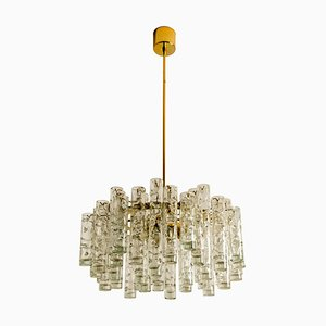 Brass and Blown Glass Chandelier by Doria Leuchten Germany, 1960s