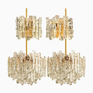Set of Iced Glass Light Wall Sconces and Chandeliers by J.T. Kalmar, 1960s, Set of 4