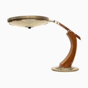 Mid-Century Oak and Gold Desk Lamp from Fase Madrid, 1960s