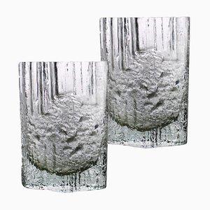 Vases en Verre Givré par Tapio Wirkkala, 1970s, Set de 2