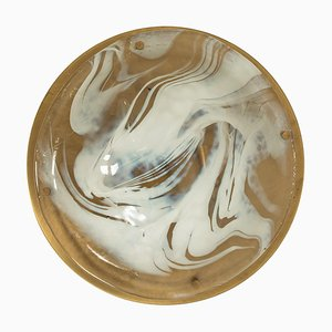 Brass and Blown Murano Glass Flush Mount Wall Light by Hillebrand, Austria