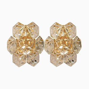 Faceted Crystal and Gilt Sconces by Kinkeldey, Germany, 1970s, Set of 2