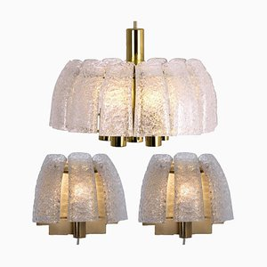 One Chandelier and Two Wall Sconces by Doria Leuchten Germany, 1960s, Set of 3