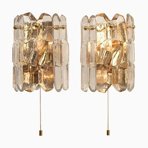 J.T. Kalmar Palazzo Wall Light Fixtures in Gilt Brass and Glass, 1970, Set of 2