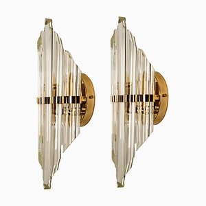 Large Italian Murano Glass and Gold-Plated Sconces in the Style of Venini, 1970s, Set of 2