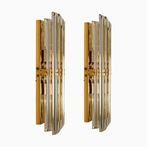 Italian Murano Glass and Gilt Brass Sconces in the Style of Venini, 1970s, Set of 2