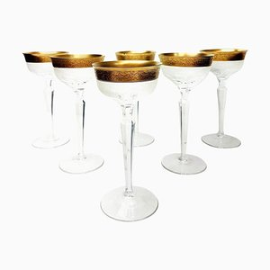 Antique Clear Crystal Goblets with Gilded and Etched Band by Moser Glassworks, Set of 6