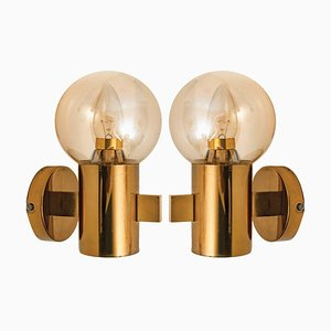 Brass and Glass Wall Lights by Hans-Agne Jakobsson, 1960s, Set of 2