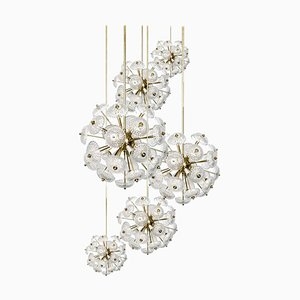 Cascade Brass and Glass Chandelier in the Style of Emil Stejnar, 1960s