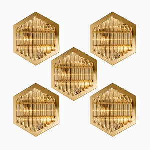Large Glass Sconces with Triedi Crystals in the Style of Venini, 1970s