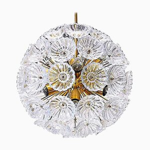 German Sputnik Glass Flower Starburst Chandelier, 1960s