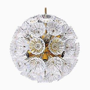German Sputnik Glass Flower Starburst Chandelier, 1960s