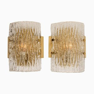 Structured Ice Glass Sconce by J.T. Kalmar, 1960s