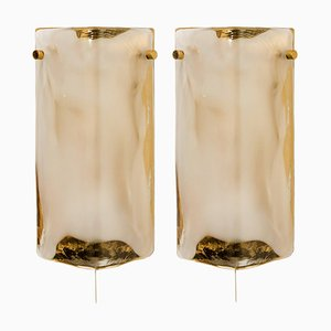 Brass and Hand Blown Murano Glass Wall Lights by J.T. Kalmar, 1960s, Set of 2