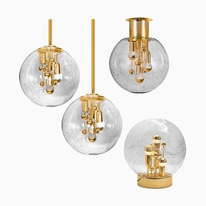 Space Age Brass and Blown Chandeliers by Doria Leuchten Germany, 1970s, Set of 4