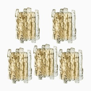 Austrian Ice Glass Wall Sconce with Brass Tone by J.T. Kalmar, 1960s