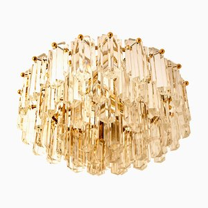 Gilt Brass and Glass Light Fixture or Flushmount by J.T. Kalmar, 1960s