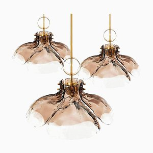Austrian Large 4-Panel Glass Flower Chandelier by J.T. Kalmar, 1960s