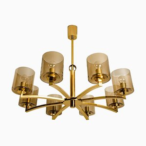 Icicle Glass Shades and Brass Chandelier by Kaiser, 1960s