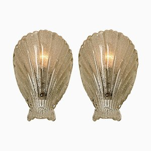 Italian Murano Hand Blown Clear Glass Sea Shell Sconces, 1960s, Set of 2
