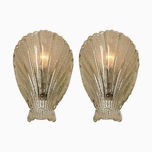 Italienische Mundgeblasene Klarglas Murano Glas Muschel Wandlampen, 1960er, 2er Set