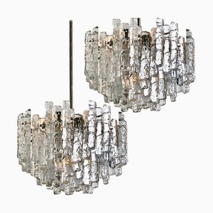 Large Modern Ice Glass Chandeliers, 1970s, Set of 2