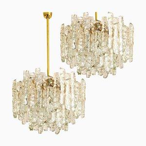 Modern Brass Two-Tiered Ice Glass Pendant Chandeliers by J.T. Kalmar, 1960s, Set of 2