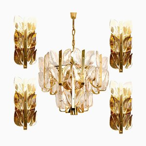 Crystal Glass Florida Wall Lights & Chandelier by J.T. Kalmar, 1960s, Set of 5