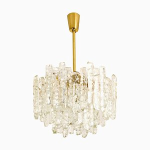 Modern Brass Ice Glass Pendant Chandelier by J.T. Kalmar, 1970s
