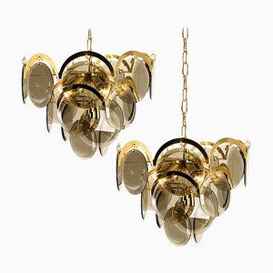 Italian Smoked Glass and Brass Chandeliers in the Style of Vistosi, 1968, Set of 2