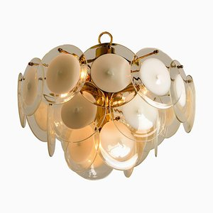 Italian White Hand Blown Glass and Brass Chandelier in the Style of Vistosi, 1970s