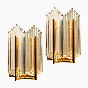 Art Deco Style Glass and Brass Sconces, 1960s, Set of 2