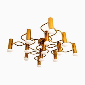 Sculptural Brass 13-Light Ceiling or Wall Flush Mount by Leola, 1970s
