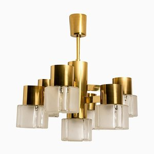 German Matt and Clear Glass Shades and Brass Chandelier by Hillebrand, 1960s