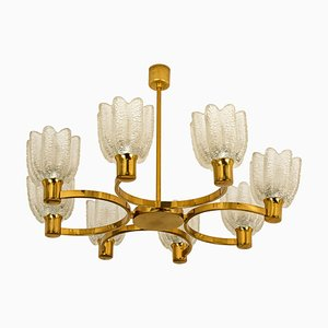 German Icicle Glass Shades & Brass Chandelier by Hillebrand, 1960s