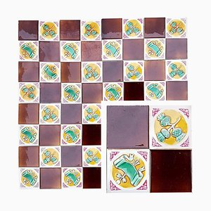 Art Deco Tiles by S.A. Faienceries de Bouffioulx, 1929, Set of 110