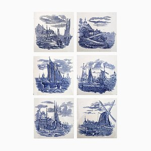Dutch Blue Ceramic Tiles by Gilliot Hemiksen, 1930s, Set of 6