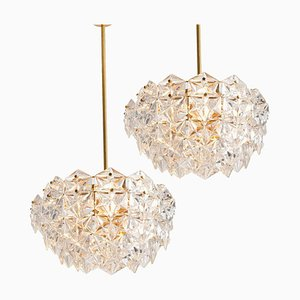 German Faceted Crystal and Gilt Metal Chandeliers from Kinkeldey, 1960s, Set of 2