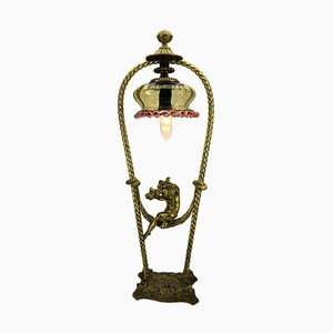 Antique Art Nouveau Putto On Swing Table Lamp
