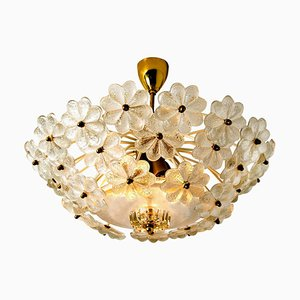 Floral Glass and Brass Flush Mount Chandelier by Ernst Palme, 1960s