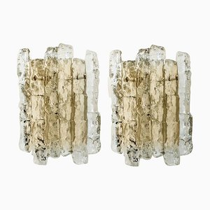 Austrian Ice Glass Wall Sconces with Brass Tone by J.T. Kalmar, 1960s, Set of 2