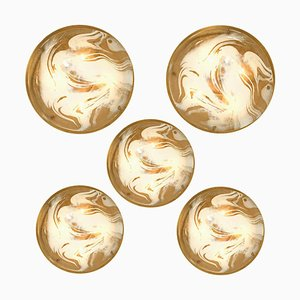 Brass and Blown Murano Glass Wall Lights or Flush Mounts by Hillebrand, 1960s