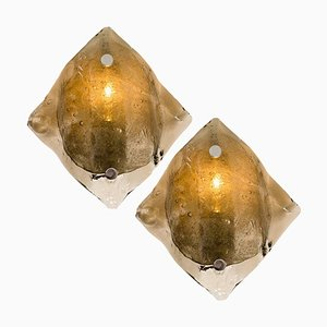 Große Murano Rauchglas Wand- oder Wandlampen von JT Kalmar, 1970er, 2er Set