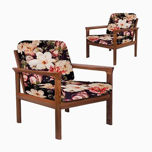 Velvet Floral Upholstered Sculptural Easy Chairs by Sven Ellekaer, 1960s, Set of 2