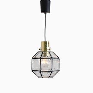 Lampe à Suspension en Fer et Verre Transparent de Limburg Glashütte, 1960s