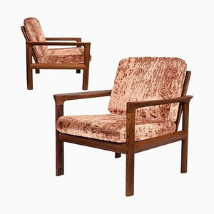 Velvet Upholstered Sculptural Easy Chairs by Sven Ellekaer, 1960s, Set of 2