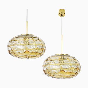 Amber Murano Glass Pendant Lamps, 1960s, Set of 2
