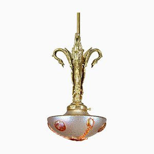 Art Nouveau Decorative Nautilus Ceiling Lamp by Loetz Glass, 1920s