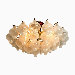 Glass & Brass Tulipan Flush Mount Chandelier by J.T. Kalmar, 1970s