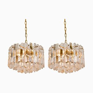 Gilt Brass and Glass Palazzo Chandeliers by J.T. Kalmar, 1970s, Set of 2